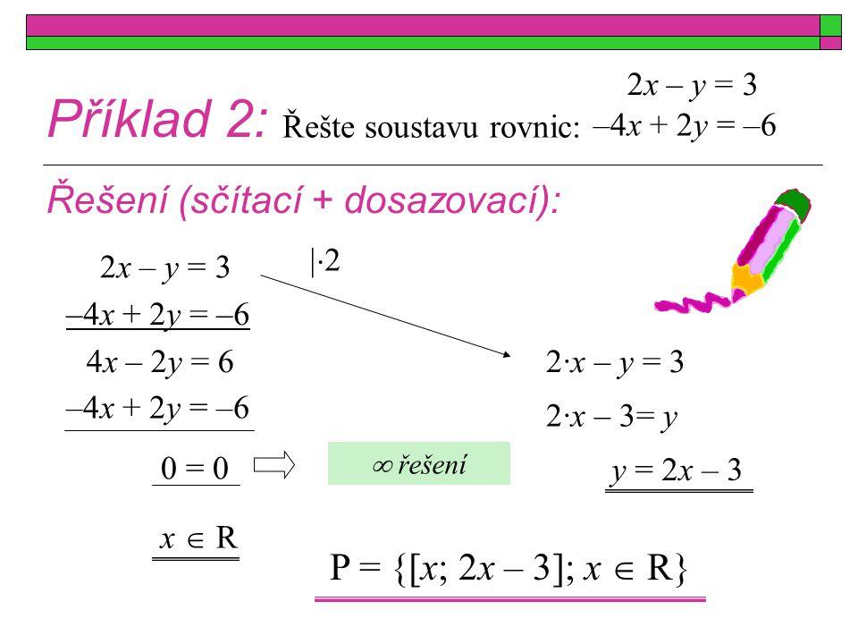 Příklad 2: Řešení (sčítací + dosazovací): P = {[x; 2x – 3]; x  R}